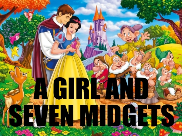 A GIRL AND SEVEN MIDGETS